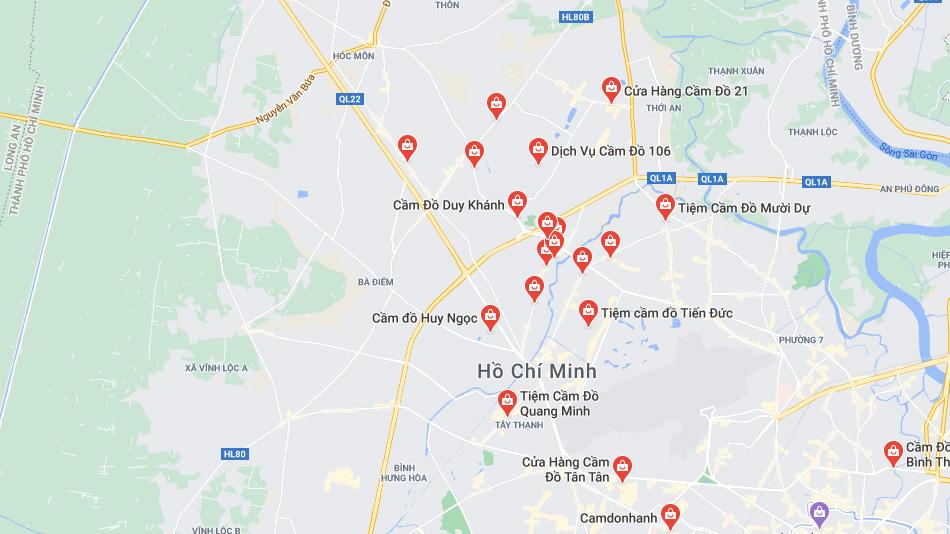 tiệm cầm đồ gần đây tìm trên google map