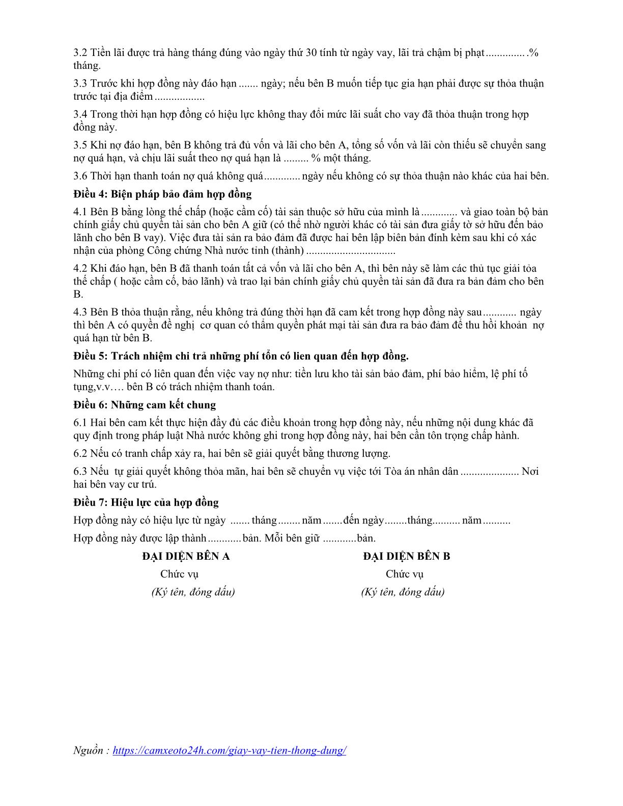 hợp đồng vay tiền trang 02